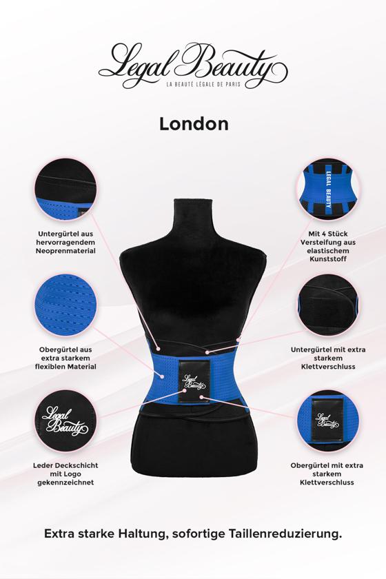 London - Waist Trainer Sportgürtel mit extra Taillengürtel - Himmelblau - M