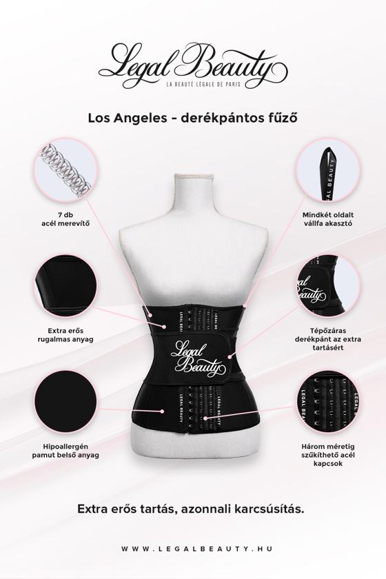 Los Angeles - Alakformáló fűző derékpánttal - Éjfekete - XXS