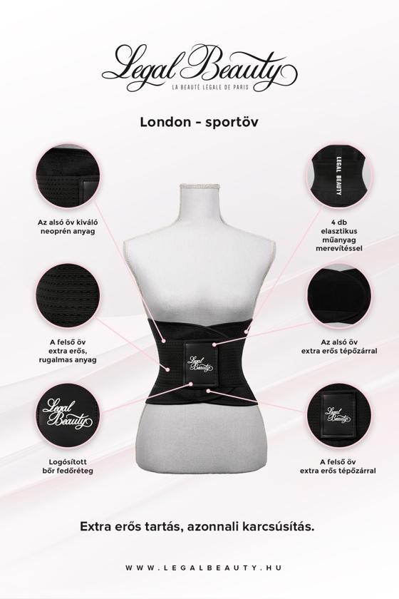 London - Sportöv extra derékpánttal - Éjfekete - XXL