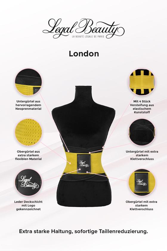 London - Waist Trainer Sportgürtel mit extra Taillengürtel - Sonnengelb - S