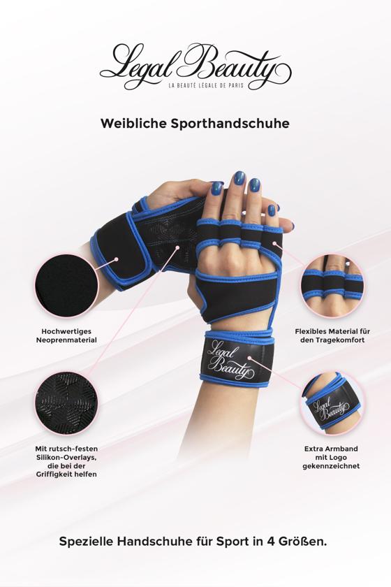 Weibliche Sporthandschuhe - Sporthandschuhe - Himmelblau - S