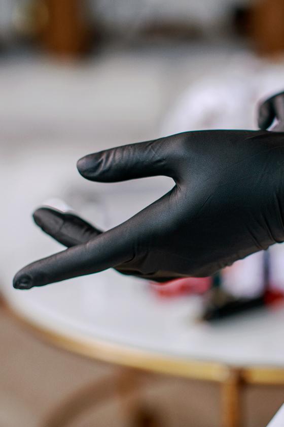 Prémium minőségű nitril kesztyű - 100 db - Fekete