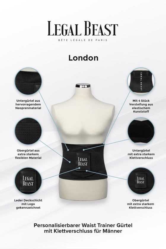 Legal Beast London - Waist Trainer Sportgürtel mit extra Taillengürtel - Phantom schwarz - S