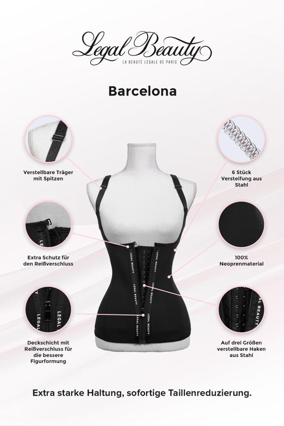 Barcelona - Shapewear Waist Trainer Neopren Korsett Weste mit Reißverschluss - Tiefschwarz - XXS