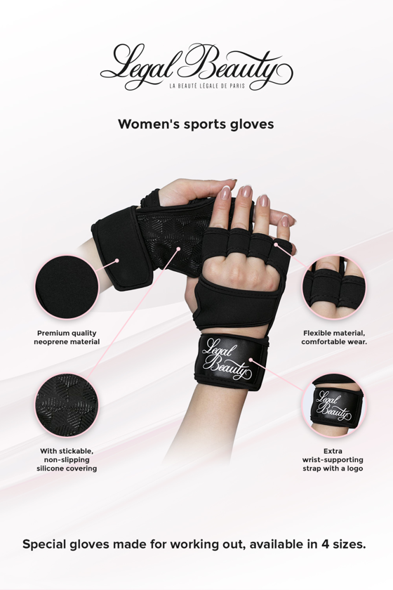 Women's sports gloves - Sports Gloves - Jet black - S