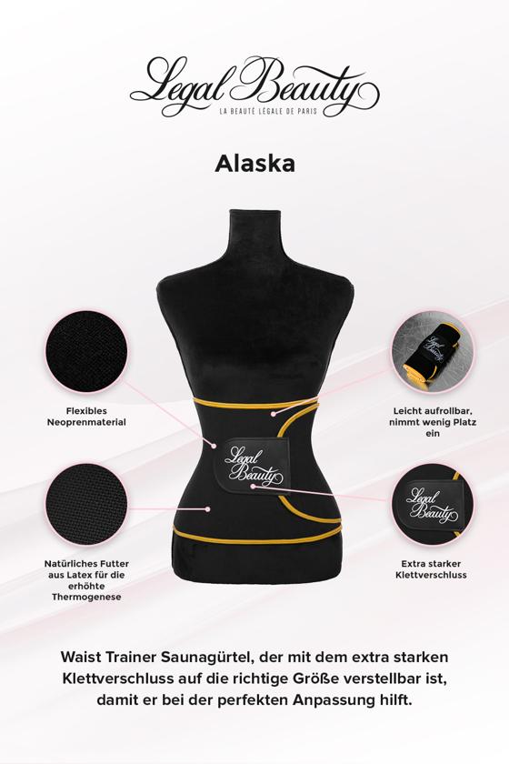 Alaska - Waist Trainer Saunagürtel - Mit sonnengelbem Saum - M