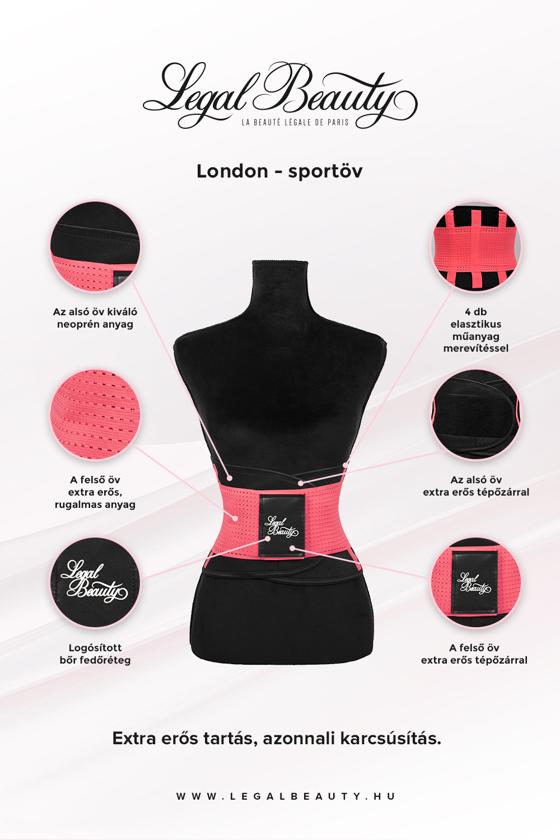 London - Sportöv extra derékpánttal - Neon rózsaszín - S