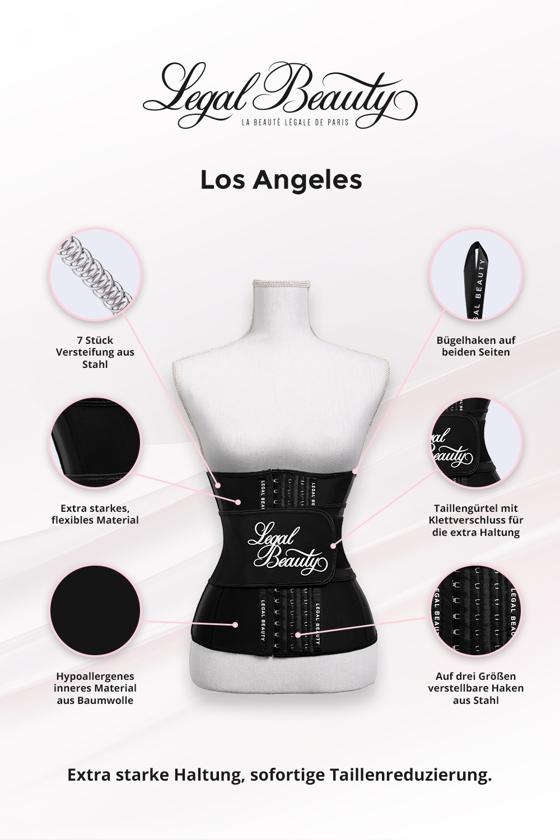 Los Angeles - Shapewear Waist Trainer Korsett mit Taillengürtel - Tiefschwarz - XXS