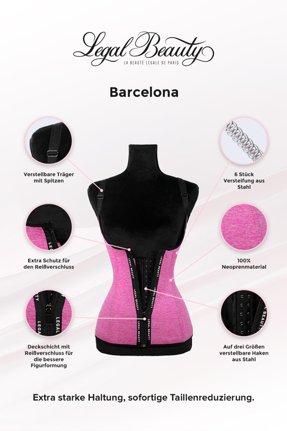 Barcelona - Shapewear Waist Trainer Neopren Korsett Weste mit Reißverschluss - Bubblegum pink - XXS