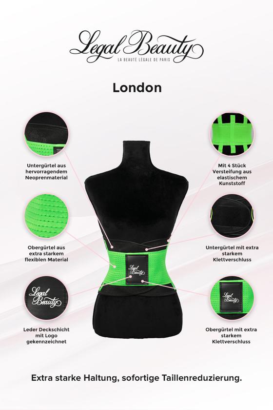 London - Waist Trainer Sportgürtel mit extra Taillengürtel - Neon Grün - S