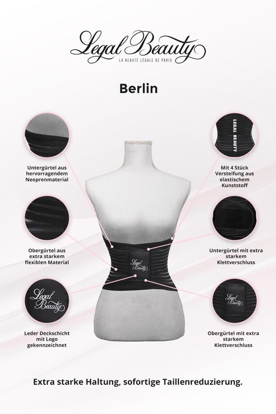 Berlin - Waist Trainer Sportgürtel mit extra Taillengürtel - Tiefschwarz - S
