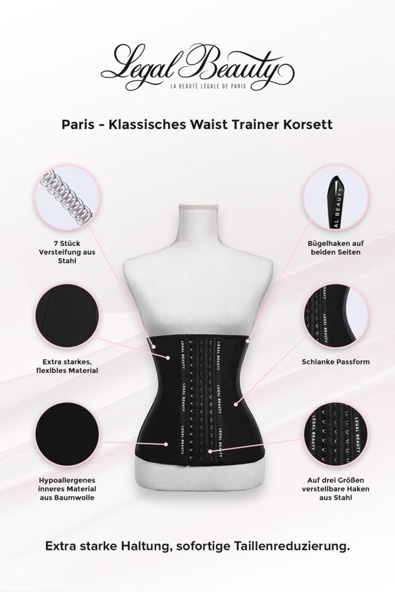 Paris - Shapewear Waist Trainer Korsett - Tiefschwarz - XXS