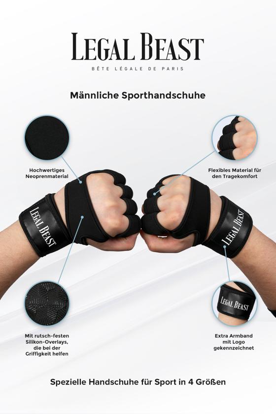 Legal Beast Männliche Sporthandschuhe - Sporthandschuhe - Phantom schwarz - S
