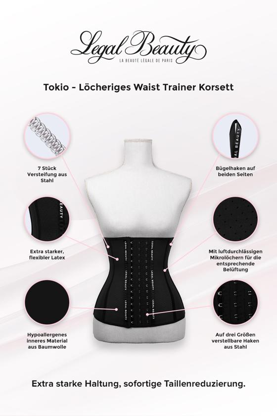 Tokyo - Shapewear Löcheriges Korsett - Tiefschwarz - 3XL