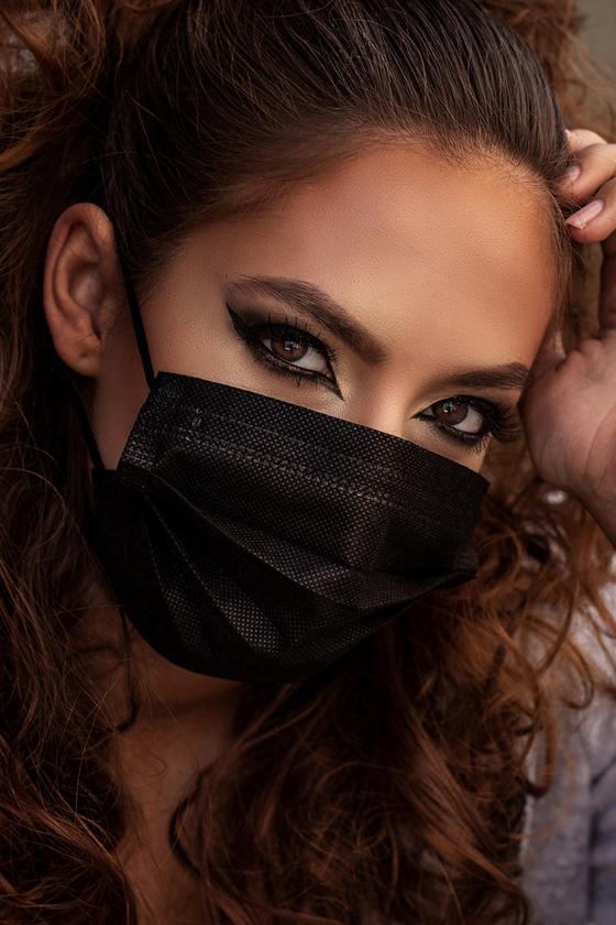 3 layer non-woven PP face mask - Carbon black - OneSize - box (50 pcs)