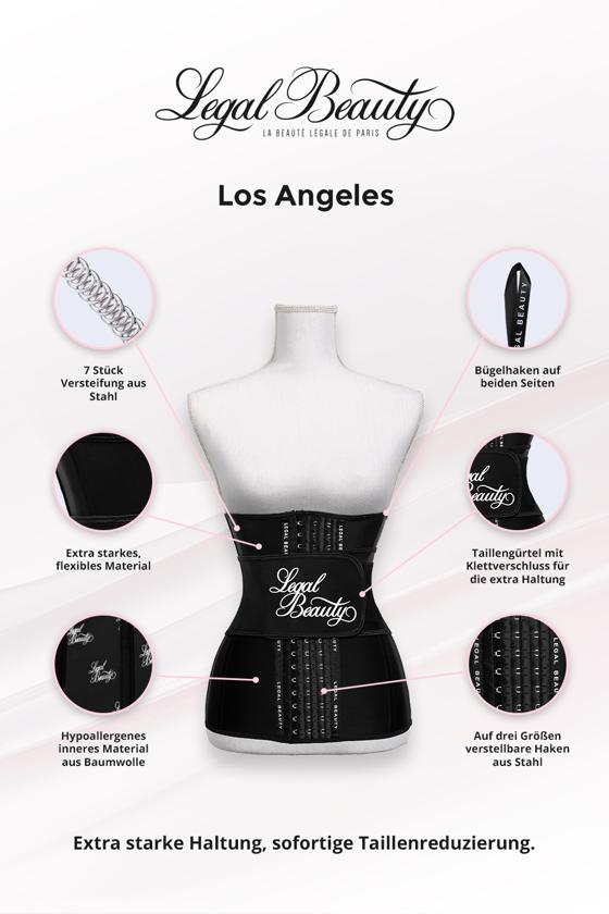 Los Angeles verlängert - Shapewear Waist Trainer Korsett mit Taillengürtel - Tiefschwarz - S