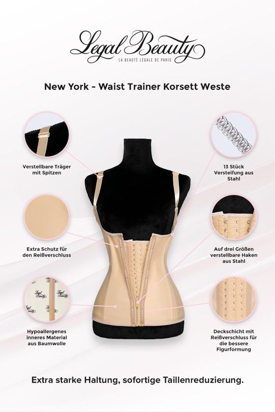 New York - Shapewear Waist Trainer Korsett Weste mit Reißverschluss - Hautfarben - XXS