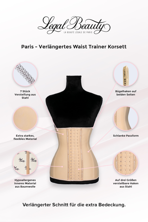 Paris verlängert - Shapewear Waist Trainer Korsett - Hautfarben - XXS