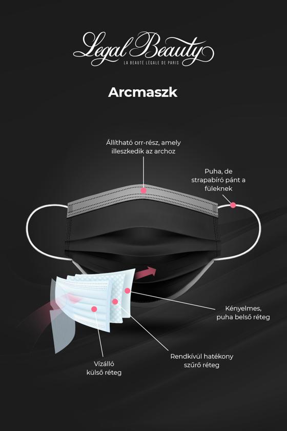Háromrétegű egészségügyi arcmaszk - 50 db - Arcmaszk - 50 db - Karbonfekete - OneSize