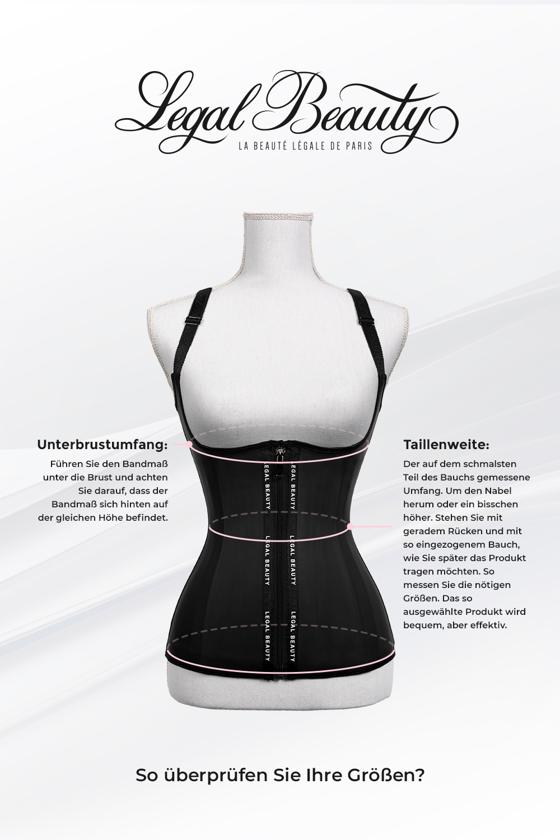 Los Angeles - Shapewear Waist Trainer Korsett mit Taillengürtel - Tiefschwarz - XS