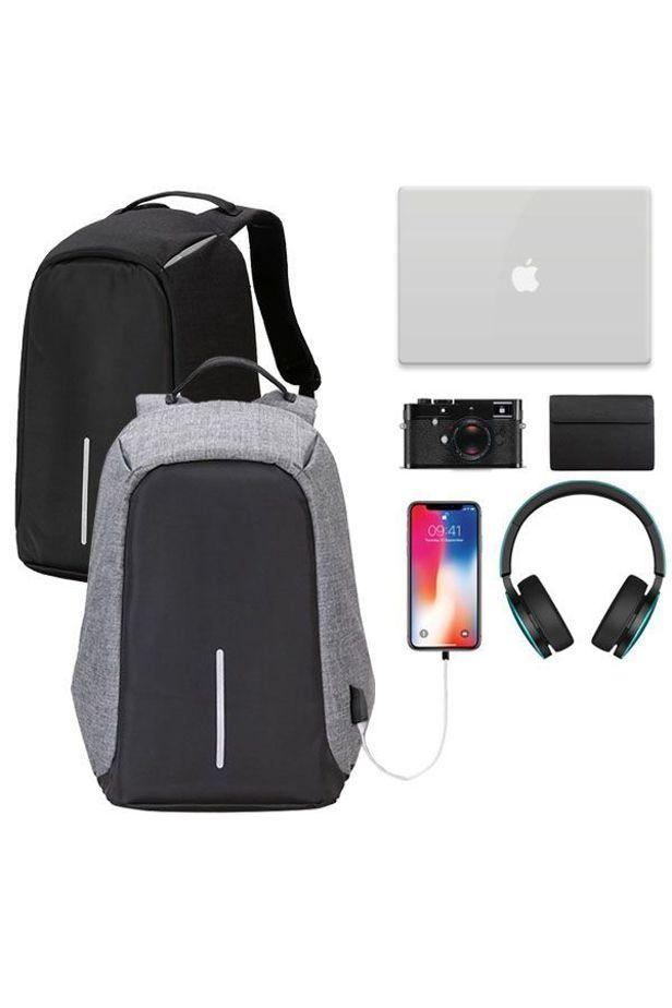 Lopásbiztos hátizsák, 2 szín - Fekete