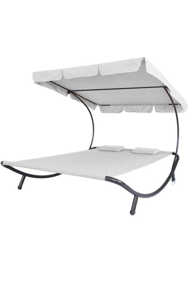 Napozó ágy napernyővel, 2 szín - Fehér