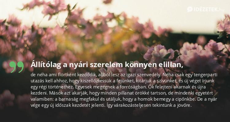 nyári szerelem idézetek Állítólag a nyári szerelem könnyen elillan,   Idezetek.hu